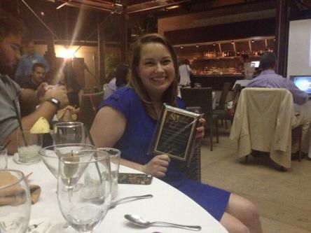 Emily Burns celebrates her SPJ award win at the annual banquet on July 10, 2014. Credit: Quinn Owen, Twitter.