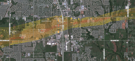 A map designed by NPR to show damage from the tornados in Oklahoma in 2013. See the interactive map here.